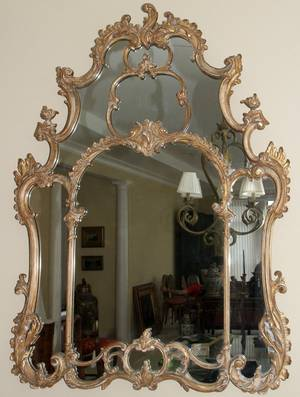 091113 VENETIAN STYLE GILT WOOD  GESSO MIRROR 60