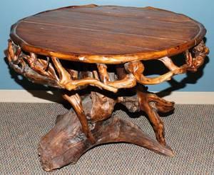 101106 RUSTIC OAK  ROOT TABLE H 32 DIA 44
