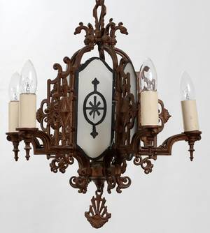 101098 IRON FIVELIGHT CHANDELIER C 1920 H 17