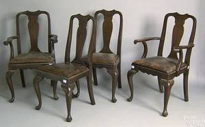 Set of 4 Queen Anne style mahogany dining chairs