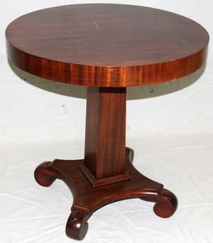 110111 EMPIRE STYLE MAHOGANY ROUND TABLE CIRCA 1920