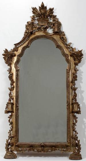 101108 FRENCH CARVED WOOD MIRROR 19TH C 60 X 31