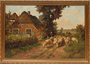 072153 DUTCH OIL ON CANVAS C 1900 LANDSCAPE