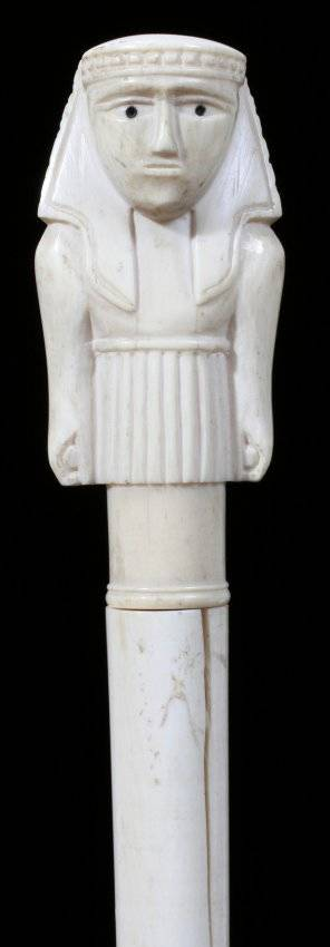 071238 CARVED IVORY WALKING STICK WITH EGYPTIAN FIGURA