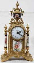 070127 ITALIAN GILT METAL CLOCK WITH PORCELAIN COLUMNS