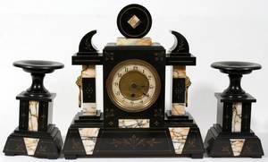 070123 FRENCH BLACK BELGIAN MARBLE CLOCK GARNITURE