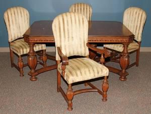 120198 MAHOGANY DINING ROOM TABLE  CHAIRS