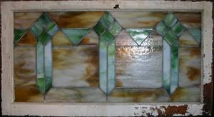 110152 STAINED LEADED GLASS WINDOW H 40 L 20 12