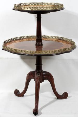 102139 FRENCH STYLE WALNUT  SATINWOOD TWOTIER TABLE
