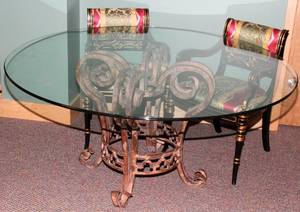 101180 CONTEMPORARY GLASS TOP DINING TABLE  ARMCHAIRS