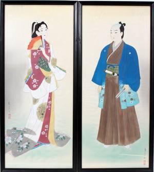 120234 JAPANESE WATERCOLORS ON SILK PANELS PAIR