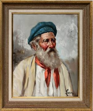 111282 LORINJ OIL ON CANVAS 20 X 16 A BEARDED MAN