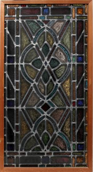 090219 LEADED  STAINED GLASS WINDOW 46 X 24