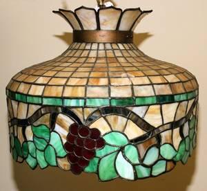 070194 LEADED GLASS HANGING LAMP H 16 DIA 20