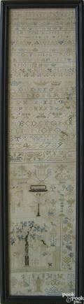 English silk on linen band sampler dated 1778