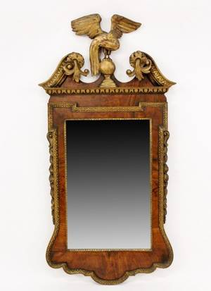19th C Walnut Eagle Mirror