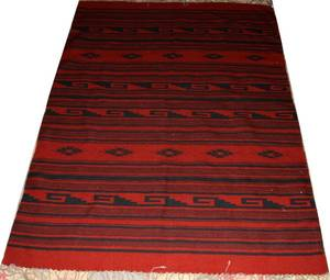 120252 MEXICAN SERAPI HAND WOVEN RUG 7 X 5 2