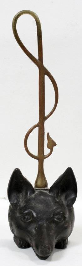 111361 CAST IRON  BRASS FOX DOOR STOP H 16