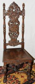 111342 ENGLISH OAK CARVED SIDE CHAIR C 1890 H 53