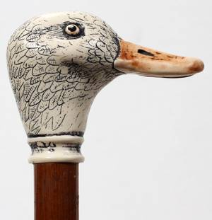 110247 WOODEN CANE WITH DUCK HEAD HANDLE H 365