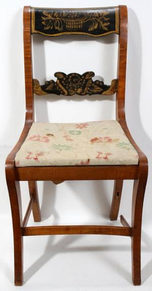 100264 BIRDS EYE  TIGER MAPLE CHAIR HAND CARVED