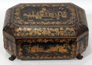 092260 CHINESE EXPORT LACQUERED SEWING BOX 19TH C