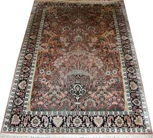 082214 KASHMIR PERSIAN DESIGN ART SILK RUG 6 4 X
