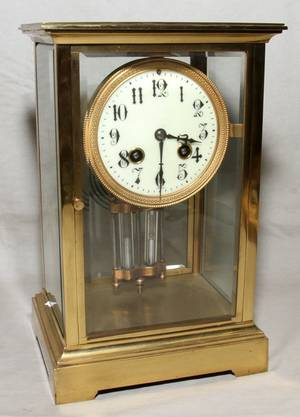 071350 FRENCH BRASS  GLASS MANTEL CLOCK EARLY 20TH C