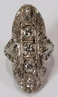 112272 EDWARDIAN 14 KT WHITE GOLD  DIAMOND RING