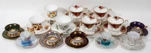 111400 PORCELAIN TEA CUPS  SAUCERS 14 SETS