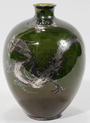 101300 CHINESE PORCELAIN VASE WITH SILVER OVERLAY