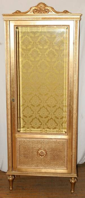 092301 FRENCH LOUIS XVI STYLE GILT CURIO CABINET