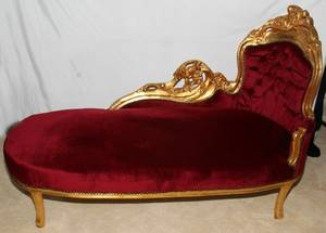 092295 FRENCH STYLE GILT  UPHOLSTERED CHAISE LOUNGE