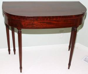 091379 SHERATON MAHOGANY FLIPTOP CARD TABLE C 1820