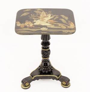 Black Lacquered Chinoiserie Stand