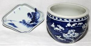 072315 CHINESE BLUE  WHITE PORCELAIN DISH  CACHE POT