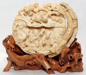 071391 CHINESE IVORY CARVING OF THE SEVEN LUCKY GODS