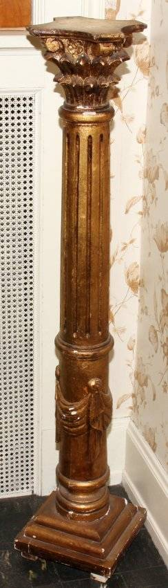 062288 GILT WOOD PEDESTAL C 1900 H 51