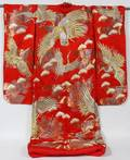 120365 JAPANESE SILK EMBROIDERED RED KIMONO