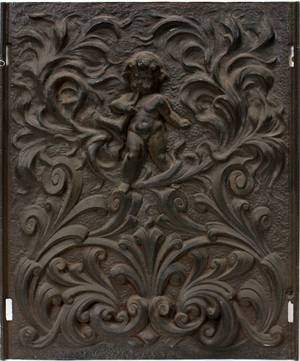112320 FIGURAL IRON WALL PLAQUE ANTIQUE H 29 W 11
