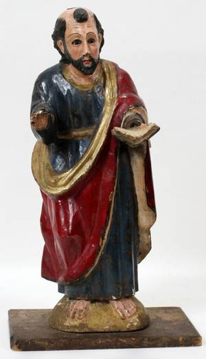 110333 CARVED WOOD POLYCHROME SANTOS H 18 12