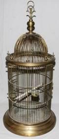 092320 BRASS BIRD CAGE C1900 H 44 DIA 20