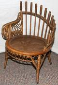 090335 WICKER CATTAIL CHAIR H 33 W 24