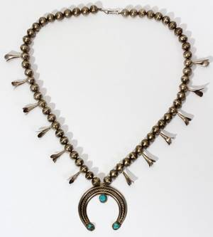 090305 NAVAJO SILVER  TURQUOISE NECKLACE C 1930S