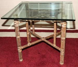 082290 BAMBOO  GLASS TOP CARD TABLE H 29 W 34