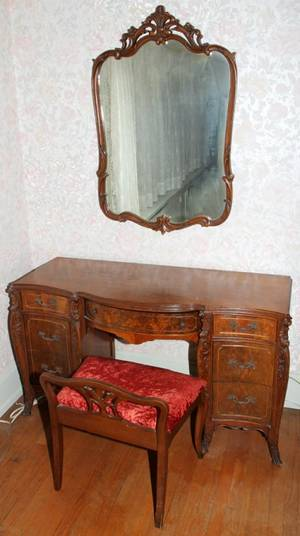 082281 SATINWOOD  INLAY DRESSING TABLE WCHAIR
