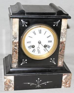 072354 BELGIAN MARBLE MANTLE CLOCK C 1880 H 10