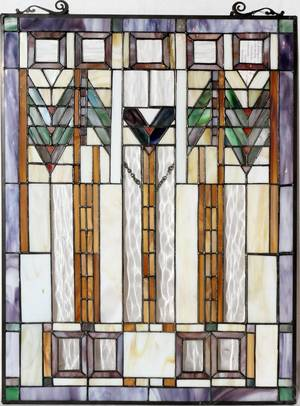 072364 STAINED LEADED GLASS WINDOW H 25 L 18 12