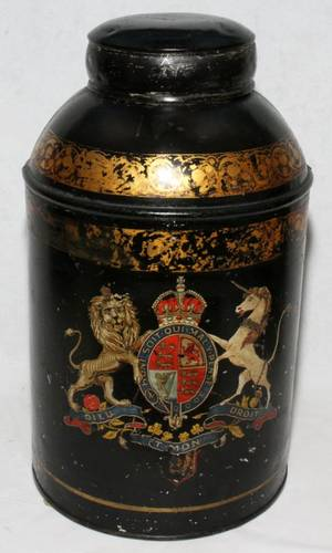081381 ENGLISH TOLE CANISTER 19TH C H 18