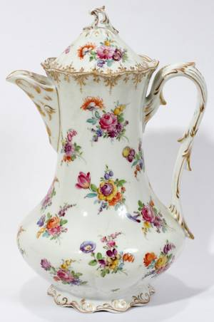 081375 DRESDEN STYLE PORCELAIN CHOCOLATE POT
